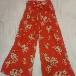 Wide leg red floral pant